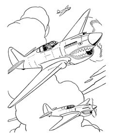 Military Coloring Pages Free and Printable Airplane Coloring Pages, Truck Coloring Pages, Cartoon Coloring Pages, Coloring Book Pages, Airplane Drawing, Airplane Art, Skull Stencil, Tattoo Stencils, Bugs Bunny Drawing