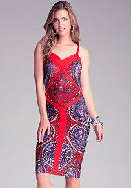 967262f6c39a Print Colorblock Midi Dress Red Scarves