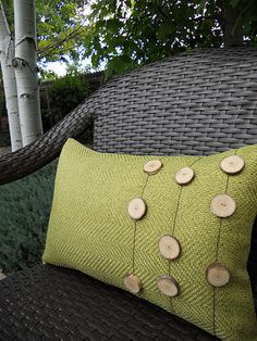 fall pillow with wooden buttons