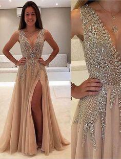 2017 long v-neck prom dresses with slit, 2017 new prom dress, BD479
