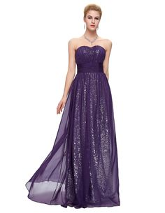 Sparkly Long Chiffon Sequin Bridesmaid Dress - Uniqistic.com