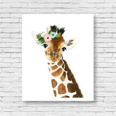 Watercolor baby giraffe number 2 Safari nursery by zuhalkanar Safari Nursery, Animal Nursery, Nursery Art, Giraffe Nursery, Giraffe Print, Watercolor Animals, Watercolor Paintings, Crown Painting, Giraffe Painting