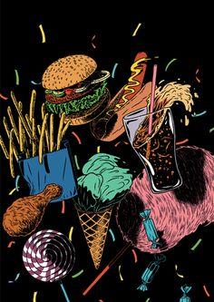 Junk Food Illustration by Kristian Hammerstad (via Juxtapoz Magazine) Art Pop, Pop Art Food, Art Et Illustration, Food Illustrations, Fashion Illustrations, Drawing Commissions, Food Wallpaper, Junk Food, Creative Inspiration