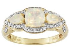Stratify(Tm) .83ctw Ethiopian Opal And .25ctw White Zircon 18k Gold Over Silver Ring