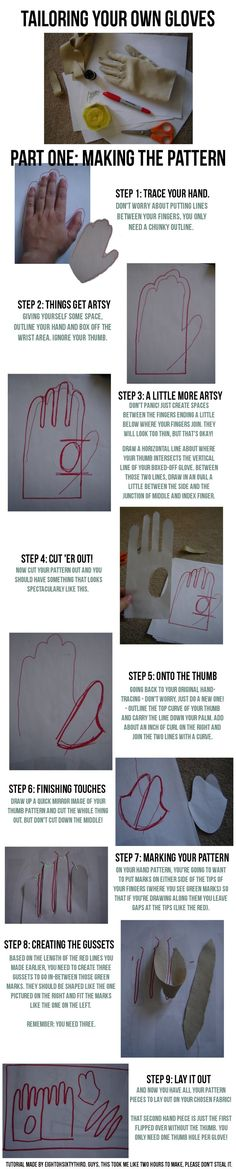 I recently did up a pair of gloves for my Boushh cosplay, so I figured I'd do up a little tutorial to go along with them. Here's part two for sewing tog. Gloves Tutorial: Part II, Sewing Sewing Hacks, Sewing Tutorials, Sewing Crafts, Sewing Projects, Sewing Patterns, Costume Tutorial, Cosplay Tutorial, Cosplay Diy, Techniques Couture