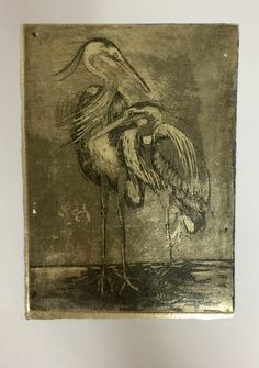 Copper plate hard ground etching with aquatint. Intaglio printing on gold leaf. Sold