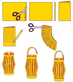 How to Make Chinese Paper Lanterns - I was surprised to see these are still being made; they were a regular craft when I was in elementary school in the It's good to know there is something I c (Diy Paper Lanterns) Ramadan Crafts, Ramadan Decorations, New Years Decorations, Chinese Party Decorations, New Year's Crafts, Kids Crafts, Craft Projects, Paper Crafts, Art Crafts