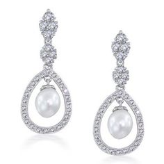 Amazon.com: Bling Jewelry Bridal Pearl Drop Earrings Pave CZ Silver Teardrop Chandelier: Jewelry - free shipping $50