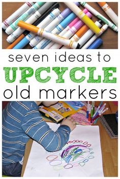 How to reuse dried out markers, recycle them into watercolors and ink, plus ideas to upcycle pen caps into arts and crafts for kids. Art For Kids, Crafts For Kids, Arts And Crafts, Summer Crafts, Kids Diy, Upcycled Crafts, Recycled Art, Recycled Materials, Recycling For Kids