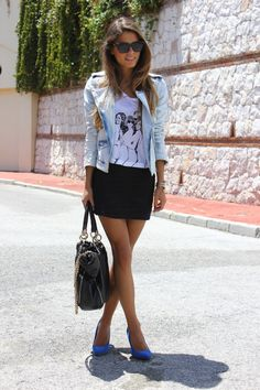 jeans jacket, white shirt and a skirt (maxi)