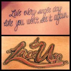 Machine gun Kelly Lyric and Lace Up tattoo Lace Up Tattoos, Mgk Tattoos, Song Tattoos, Girly Tattoos, Life Tattoos, Crazy Tattoos, Tattoo Quotes, Tatoos, Mgk Lyrics