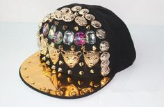 leopard charms hiphop back snapback DJ popular singer cap rivets trendsetter hat gold rim five stars decoration snapback by littledandeliondream on Etsy