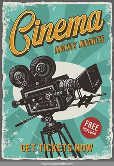 12 Cinema Posters - Colorful cinema poster with movie camera on radial background. Poster Retro, Poster S, Poster Prints, Posters Decor, Cinema Posters, Movie Posters, Vintage Movie Theater, Vintage Movies, Vintage Disney Posters