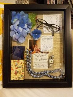 I made this shadow box immediately after we lost our Mom. Filled it with notes she wrote, some of her belongings, and hydrangea from the centerpieces I made for the reception after her Celebration of Life. Shadow Box Memory, Memory Frame, Diy Shadow Box, Shadow Box Frames, Funeral Memorial, Memorial Gifts, Memorial Ideas, Craft Gifts, Diy Gifts