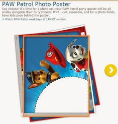 So nice Free Printable Poster to place your photo. You can also use this for making Labels or Toppers for your Paw Patrol Party. Paw Patrol Games, Paw Patrol Party, Paw Patrol Birthday, Party Activities, Activities For Kids, Cumple Paw Patrol, Free Poster Printables, Oh My Fiesta, How To Make Labels