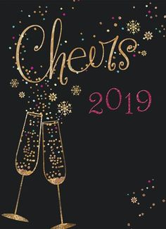 nieuwjaarskaart - champagne-cheers-2018 Happy New Year, Champagne, Cheers, Place Cards, Place Card Holders, Christmas Ornaments, Holiday Decor, Classic, Holidays