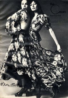 Anjelica Huston wearing Ossie Clark for Miss Selfridge, Cosmopolitan, May 1972.