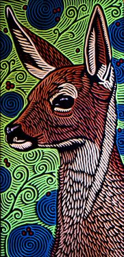 LISA  BRAWN   WOODCUT           Deer