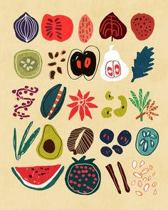 Fruit and Spice Rack Art Print | Budi Satria Kwan