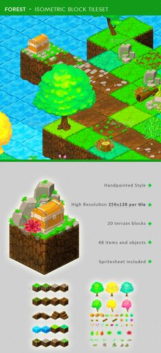 Forest - Isometric Block Tileset - Tilesets #Game Assets Download here: https://graphicriver.net/item/forest-isometric-block-tileset/15865305?ref=alena994
