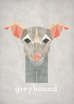 GREYHOUND, Geometric illustration, Animal head www.alicemacleansmith.com Copyright 2014 Alice Maclean Smith