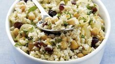 Middle Eastern Rice Salad | Transform a bowl of brown rice into a Middle Eastern salad with the addition of chickpeas, mint, cumin and dates.