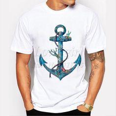 men's fashion creative boathook printed t-shirt funny tee shirts Hipster