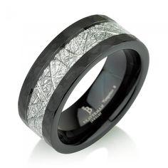 Hommes Femmes Noir Titane Acier Mariage Anniversaire CZ Ring Band 8 mm Taille 6-13