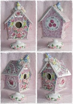 Shabby Chic Mosaic Birdhouse  I have made several of these (not this one) and always LOVE how they turn out!