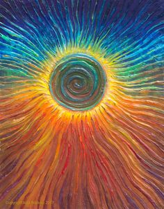 The Energy Art Store By Julia Watkins — Eclipse Energy Painting - Giclee Print Painting Inspiration, Art Inspo, Arte Van Gogh, Sun Painting, Rainbow Painting, Spiritual Paintings, Sun Art, Giclee Print, Art Drawings