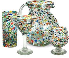 Our hand crafted raised confetti pebble glassware is the perfect choice for a colorful accent piece to your home bar or everyday drink ware. Each distinctive glass product is lead free and should be used for cold beverages only.