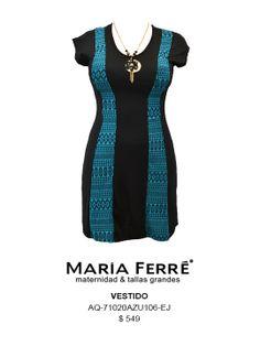 VESTIDO TALLA EXTRA, AZUL Y NEGRO, PLUS SIZE DRESS, BLACK & BLUE. MARÍA FERRÉ.