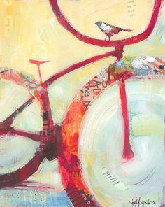 Shelli Walters mixed media bike bird art painting