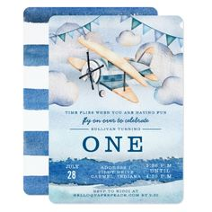 Shop Watercolor Airplane Boy Birthday Party Invitations created by joyonpaper. Personalize it with photos & text or purchase as is! Blue Birthday Parties, Kids Birthday Party Invitations, Birthday Ideas, Boy Birthday Themes, Time Flies Birthday, Baby Boy First Birthday, 2nd Birthday, Special Birthday, Planes Birthday