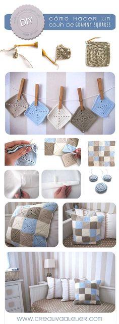 Tutorial para hacer un cojín de Granny Squares #crochet #DIY #grannysquare༺✿ƬⱤღ✿༻: