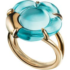 Baccarat B Flower Ring (€380) ❤ liked on Polyvore featuring jewelry, rings, new arrivals, turquoise, flower jewellery, baccarat jewelry, couture jewelry, peony rings and flower ring