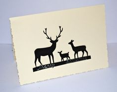 cream  christmas card stags and  deer  by CabbagePatchCards, £1.50