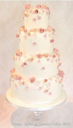 Dusky Pink Cascading Blossom Cake