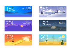 A large set of highly creative weather app design for your inspiration. Take the ideas from these beautifully designed weather apps for your next project. Beijing China, Banner Template, Web Banner, Shanghai, Best Weather App, Module Design, Adobe Illustrator, Logos Retro, Desert Colors