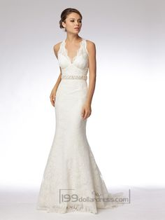 Trumpet Embroidered Lace Halter V-neck Wedding Dresses with Keyhole Back