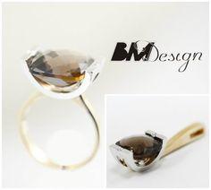 komplet z kwarcem dymnym i diamentami Rzeszów biżuteriana zamówienie