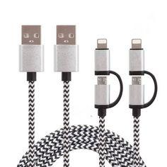 2 en 1 super fast 2.4a micro usb cable para android y para iphone 5 iphone 6 6 s samsung cable de datos de carga del cargador del cable de nylon Cable