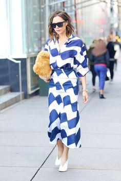 On Victoria Beckham:Victoria Beckhamdress, bag and shoes.