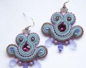 Mini Earrings- Purple & Grey blue shades : Boucles d'oreille par dissident-sheep