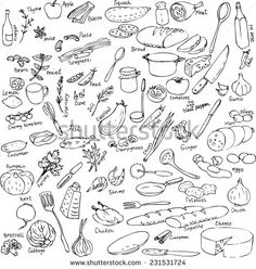 sketch of foods, utensils and kitchen equipment, hand drawn vector illustration - stock vector