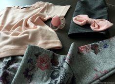 New born handmade look - pink - grey - flowers - www.momeme.it