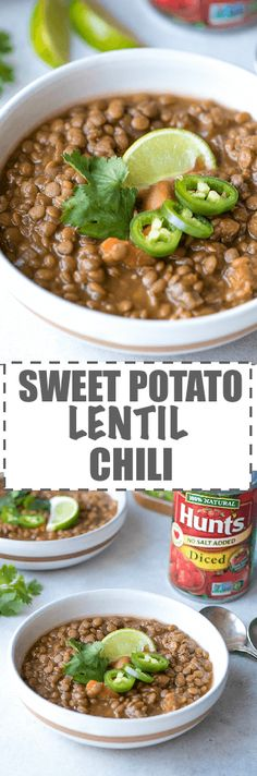 Sweet Potato Lentil Chili Recipe - Simple To Make In A Crock Pot, Nutritious And Delicious Meal. Only A Few Ingredients And Minimal Prep Work. Ideal For The Colder Months Of The Year. Through Cookinglsl Healthy Soup Recipes, Chili Recipes, Slow Cooker Recipes, Healthy Dinner Recipes, Cooking Recipes, Drink Recipes, Delicious Recipes, Yummy Food, Vegan Recipes