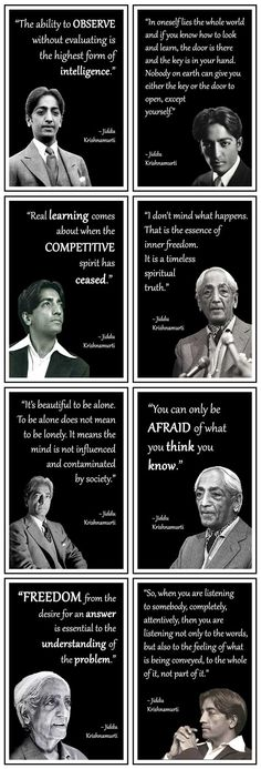A selection of the best Jiddu Krishnamurti Philosophy Quotes. Discover these thought provoking famous and rare quotes of the great Indian philosopher Strong Quotes, Wise Quotes, Words Quotes, Positive Quotes, Inspirational Quotes, Motivational, Sayings, J Krishnamurti Quotes, Jiddu Krishnamurti