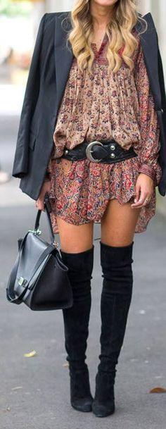 floral tunic, blazer & thigh-highs
