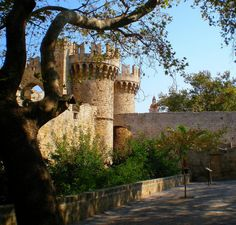 Side entrance to the Castelo of the medieval town of Rhodes island Greece.